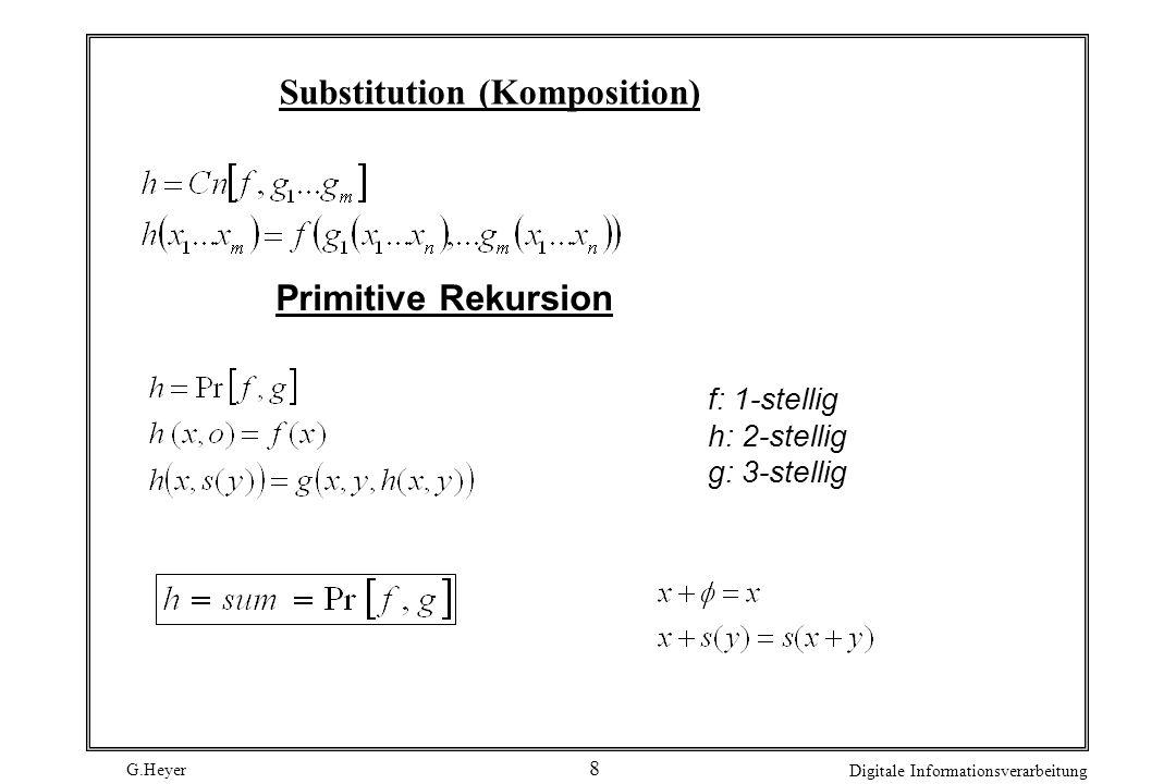 G.Heyer Digitale Informationsverarbeitung 8 Substitution (Komposition) Primitive Rekursion f: 1-stellig h: 2-stellig g: 3-stellig
