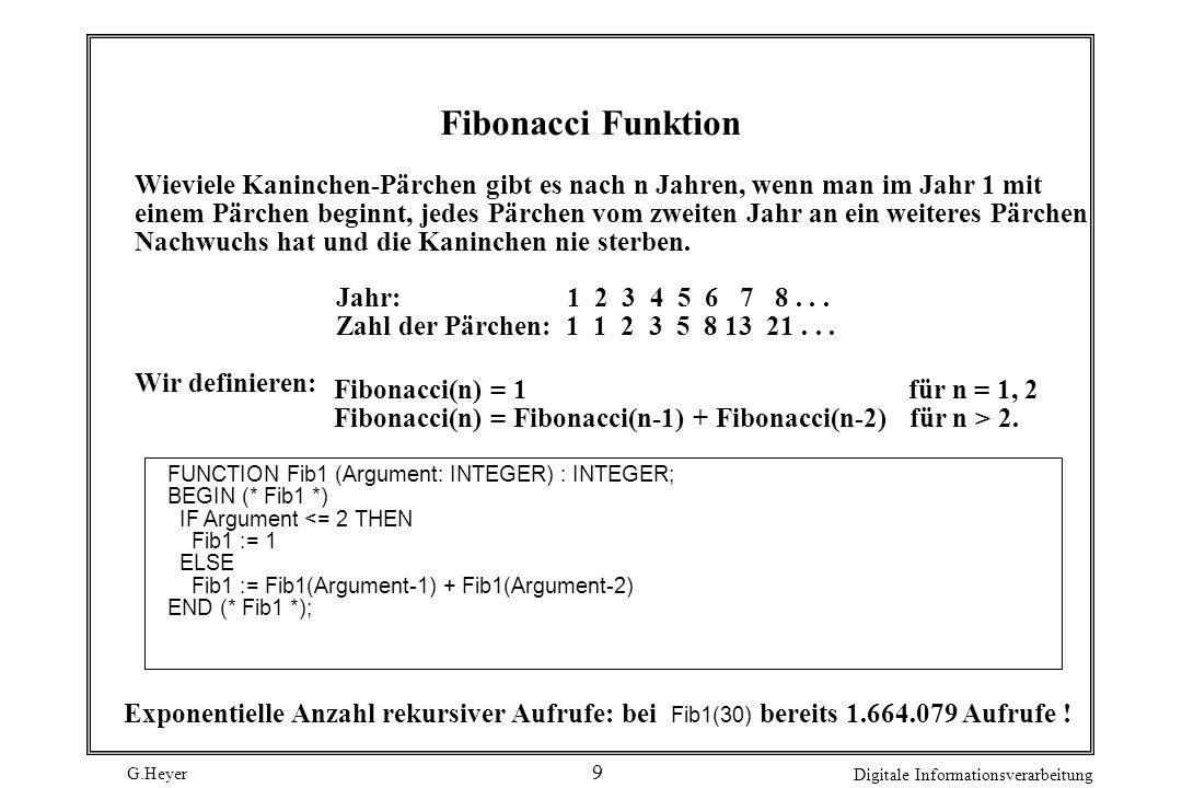 G.Heyer Digitale Informationsverarbeitung 10 Lösung mit linearer Anzahl von Aufrufen (rekursiv nicht-funktional) FUNCTION Fib2 (Arg: INTEGER) : INTEGER; PROCEDURE FibProc (Arg: INTEGER; VAR Fib, FibMin1: INTEGER ); (* Liefert fuer Arg >= 0 in Fib die Fibonacci-Zahl *) (* von Arg in FibMin1 die von Arg-1.