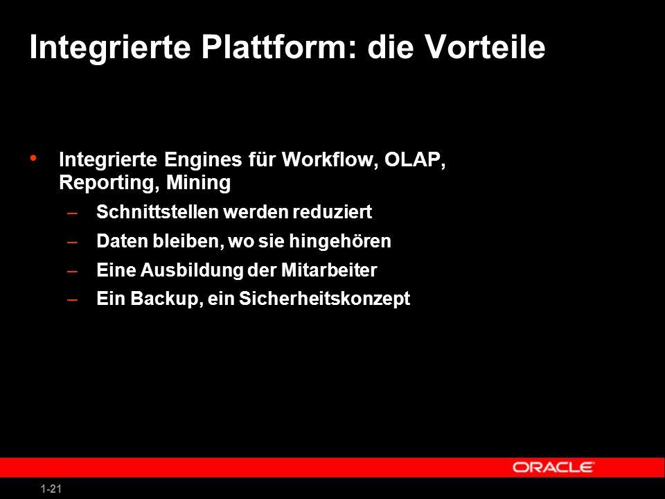 1-21 Integrierte Plattform: die Vorteile Integrierte Engines für Workflow, OLAP, Reporting, Mining –Schnittstellen werden reduziert –Daten bleiben, wo sie hingehören –Eine Ausbildung der Mitarbeiter –Ein Backup, ein Sicherheitskonzept