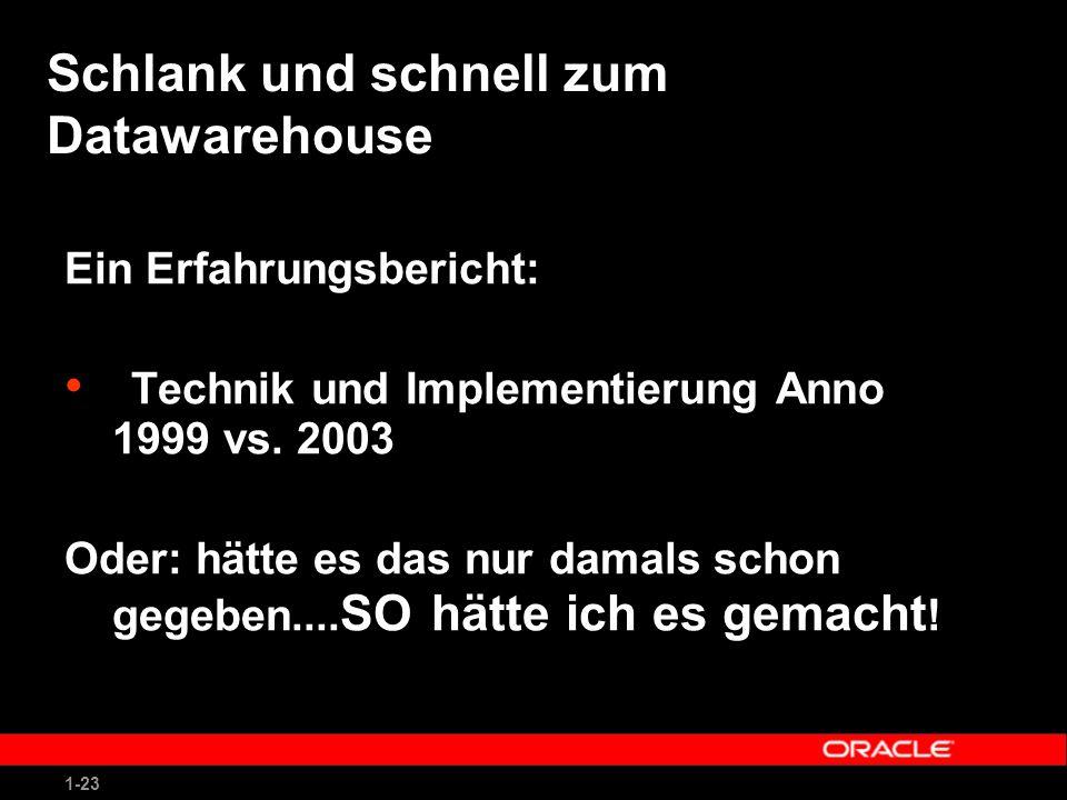 1-23 Schlank und schnell zum Datawarehouse Ein Erfahrungsbericht: Technik und Implementierung Anno 1999 vs.