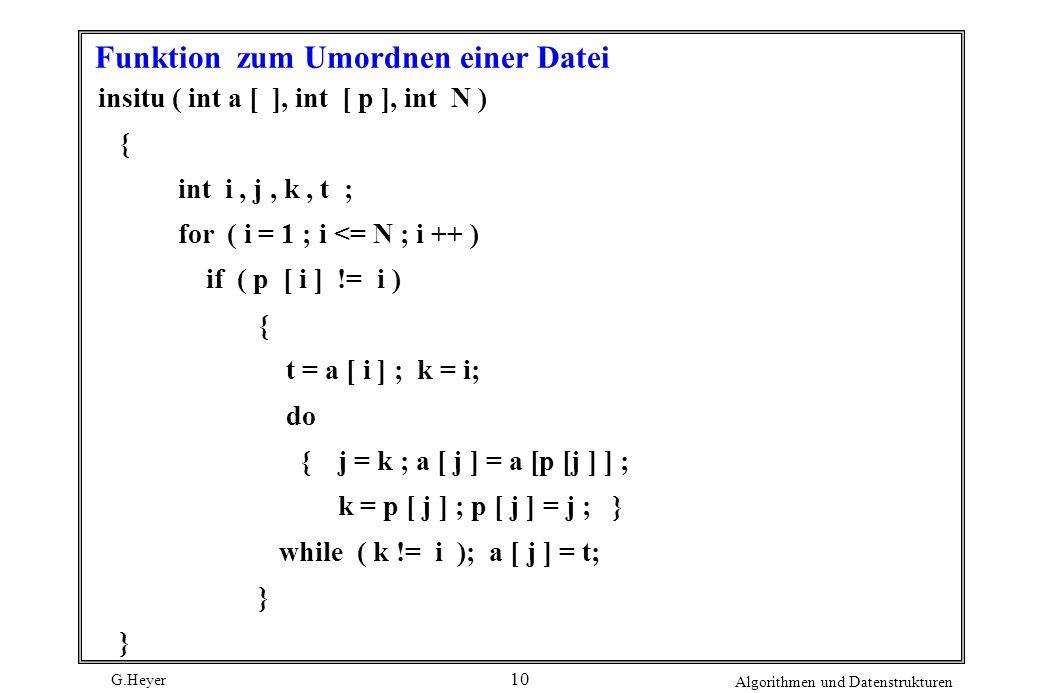 G.Heyer Algorithmen und Datenstrukturen 10 Funktion zum Umordnen einer Datei insitu ( int a [ ], int [ p ], int N ) { int i, j, k, t ; for ( i = 1 ; i
