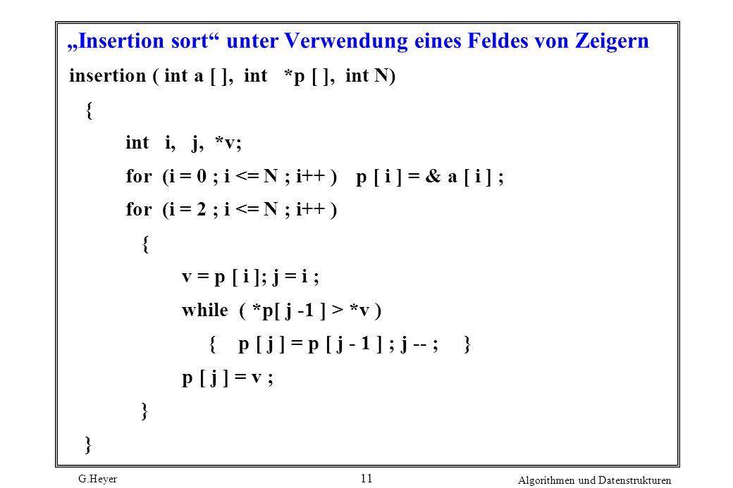 G.Heyer Algorithmen und Datenstrukturen 11 Insertion sort unter Verwendung eines Feldes von Zeigern insertion ( int a [ ], int *p [ ], int N) { int i,