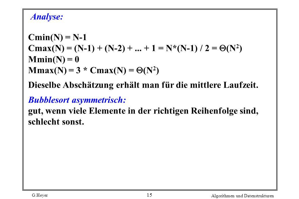 G.Heyer Algorithmen und Datenstrukturen 15 Analyse: Cmin(N) = N-1 Cmax(N) = (N-1) + (N-2) +... + 1 = N*(N-1) / 2 = (N 2 ) Mmin(N) = 0 Mmax(N) = 3 * Cm