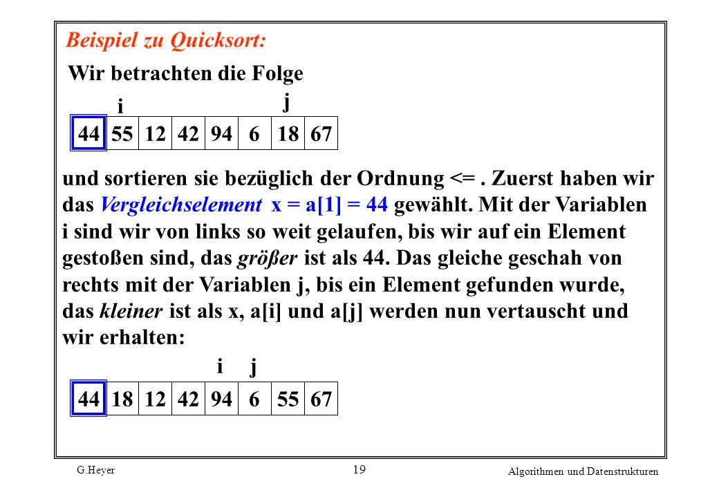 G.Heyer Algorithmen und Datenstrukturen 19 Beispiel zu Quicksort: Wir betrachten die Folge 44 5512429461867 j i und sortieren sie bezüglich der Ordnun