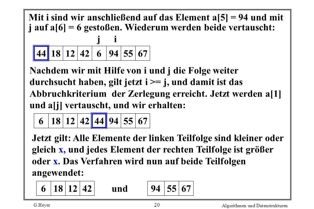 G.Heyer Algorithmen und Datenstrukturen 20 Mit i sind wir anschließend auf das Element a[5] = 94 und mit j auf a[6] = 6 gestoßen. Wiederum werden beid