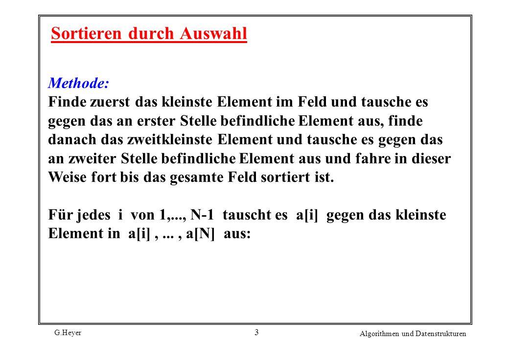 G.Heyer Algorithmen und Datenstrukturen 4 selection ( int a [ ], int N ) { inti, j, min, t ; for ( i = 1 ; i < N ; i++ ) { min = i; for ( j = i+1; j <= N ; j++ ) if ( a [ j ] < a [ min ] ) min = j; t = a [ min ] ; a [ min ] = a [ i ] ; a [ i ] = t; } Analyse: Anzahl Schlüsselvergleiche: i = N(N-1) / 2 = (N 2 ) Anzahl Bewegungen von Sätzen: 3(N-1)