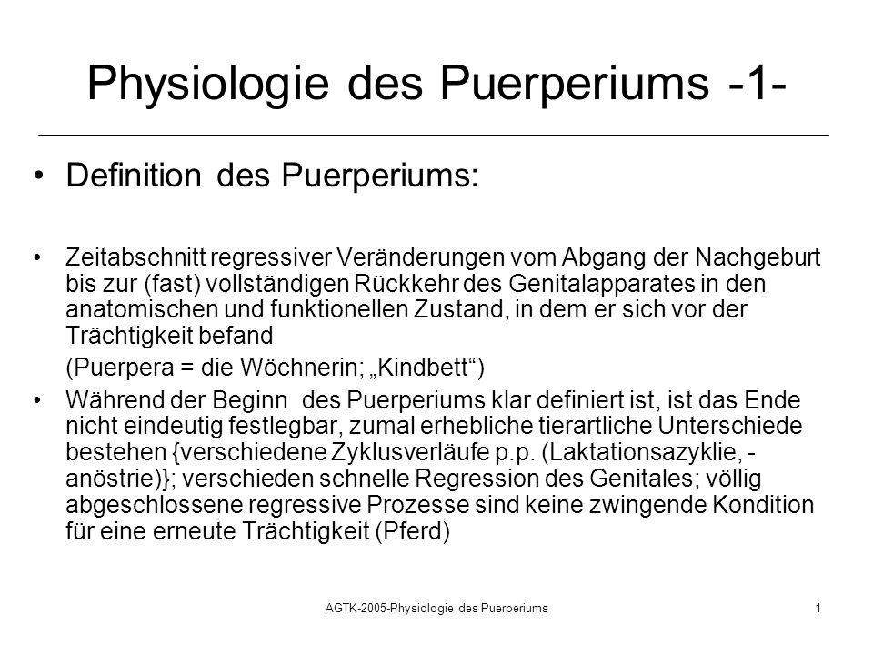 AGTK-2005-Physiologie des Puerperiums1 Physiologie des Puerperiums -1- Definition des Puerperiums: Zeitabschnitt regressiver Veränderungen vom Abgang