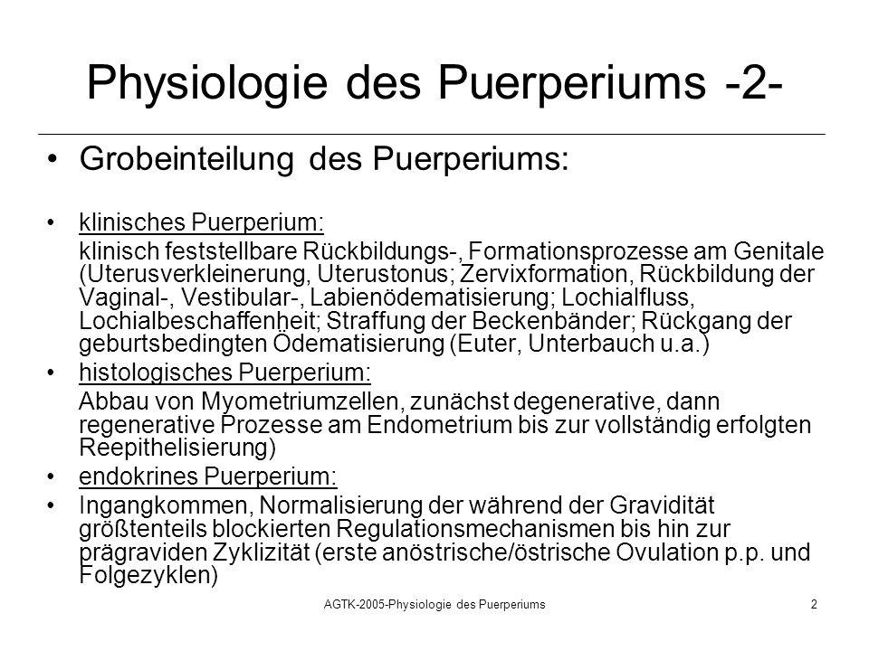 AGTK-2005-Physiologie des Puerperiums2 Physiologie des Puerperiums -2- Grobeinteilung des Puerperiums: klinisches Puerperium: klinisch feststellbare R