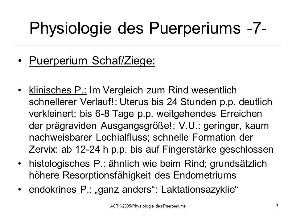 AGTK-2005-Physiologie des Puerperiums7 Physiologie des Puerperiums -7- Puerperium Schaf/Ziege: klinisches P.: Im Vergleich zum Rind wesentlich schnell