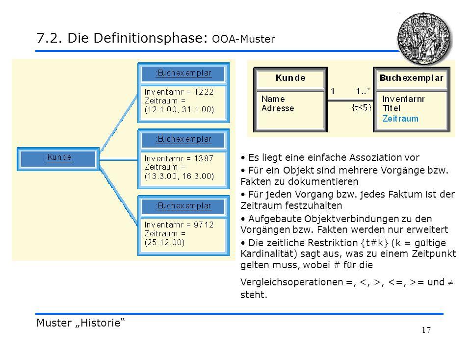 17 Muster Historie 7.2. Die Definitionsphase: OOA-Muster Es liegt eine einfache Assoziation vor F ü r ein Objekt sind mehrere Vorg ä nge bzw. Fakten z