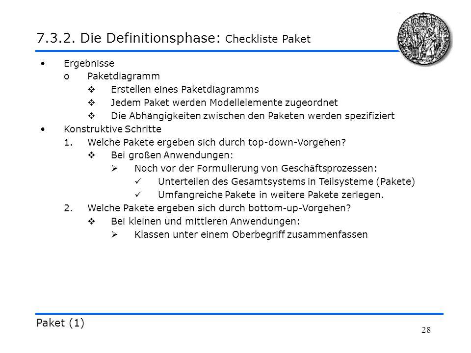 28 Ergebnisse oPaketdiagramm Erstellen eines Paketdiagramms Jedem Paket werden Modellelemente zugeordnet Die Abh ä ngigkeiten zwischen den Paketen wer