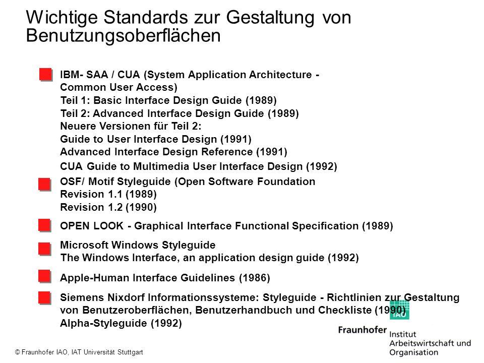 © Fraunhofer IAO, IAT Universität Stuttgart Wichtige Standards zur Gestaltung von Benutzungsoberflächen IBM- SAA / CUA (System Application Architectur