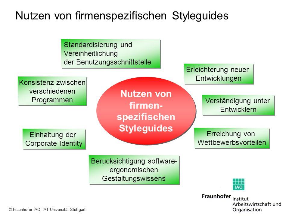 © Fraunhofer IAO, IAT Universität Stuttgart Nutzen von firmenspezifischen Styleguides Erleichterung neuer Entwicklungen Erleichterung neuer Entwicklun