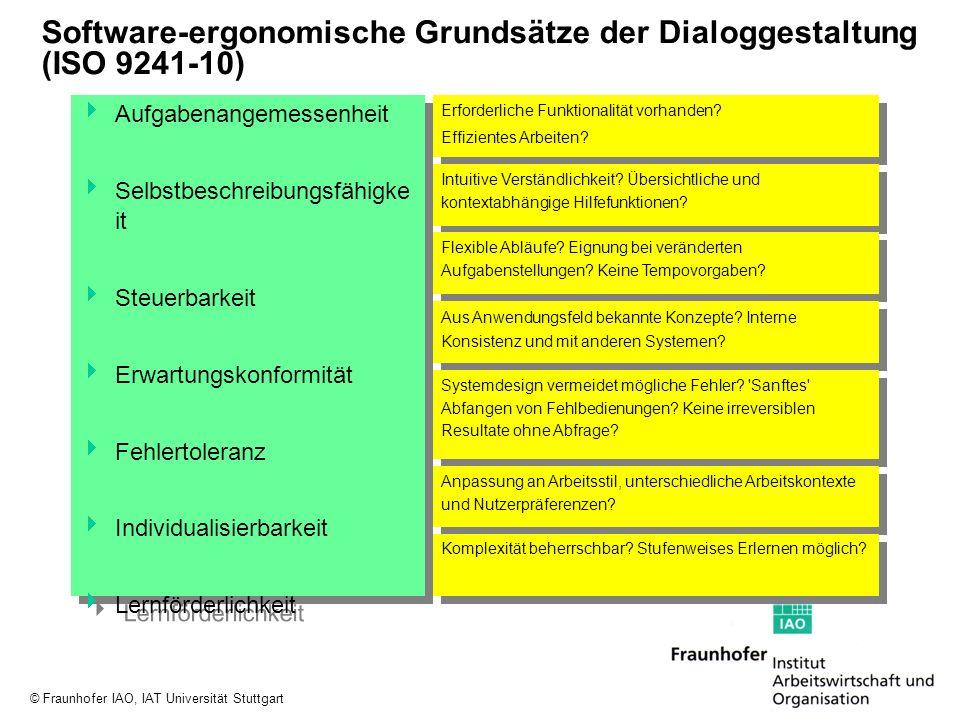 © Fraunhofer IAO, IAT Universität Stuttgart Software-ergonomische Grundsätze der Dialoggestaltung (ISO 9241-10) Aufgabenangemessenheit Selbstbeschreib
