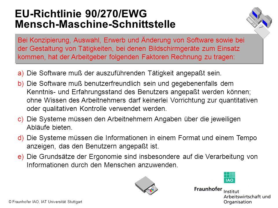 © Fraunhofer IAO, IAT Universität Stuttgart EU-Richtlinie 90/270/EWG Mensch-Maschine-Schnittstelle Bei Konzipierung, Auswahl, Erwerb und Änderung von