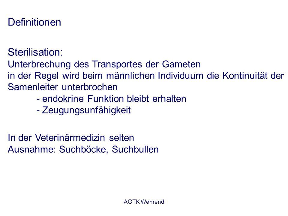 AGTK Wehrend Definitionen Sterilisation: Unterbrechung des Transportes der Gameten in der Regel wird beim männlichen Individuum die Kontinuität der Samenleiter unterbrochen - endokrine Funktion bleibt erhalten - Zeugungsunfähigkeit In der Veterinärmedizin selten Ausnahme: Suchböcke, Suchbullen
