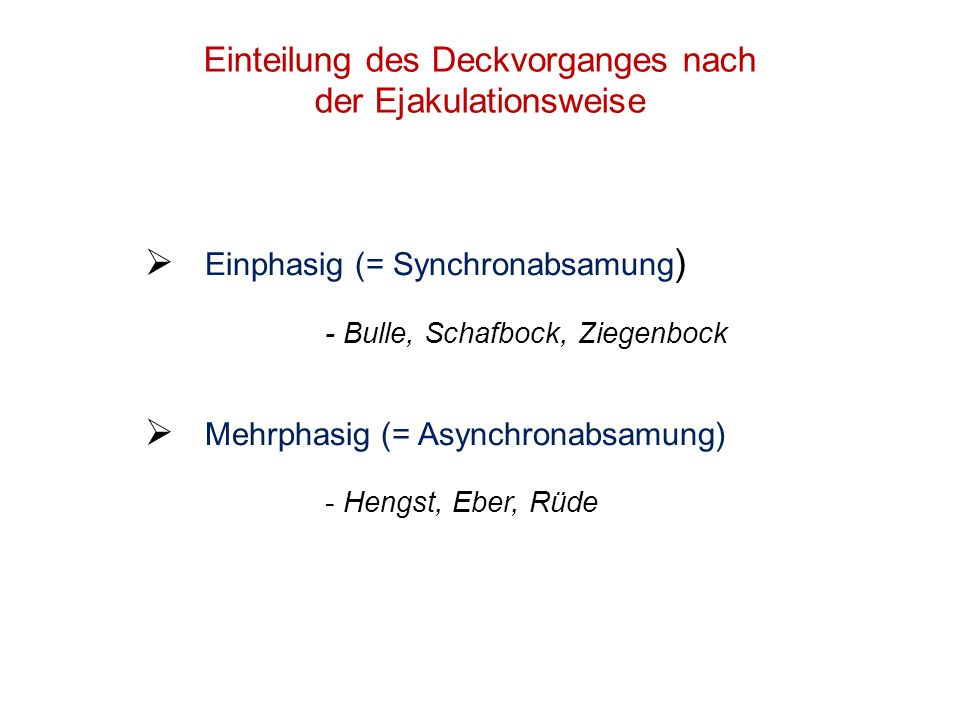 Einteilung des Deckvorganges nach der Ejakulationsweise Einphasig (= Synchronabsamung ) - Bulle, Schafbock, Ziegenbock Mehrphasig (= Asynchronabsamung