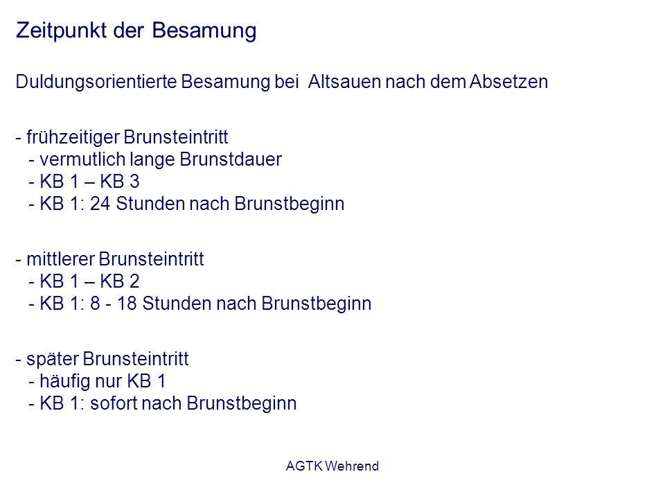 AGTK Wehrend Zeitpunkt der Besamung Duldungsorientierte Besamung bei Altsauen nach dem Absetzen - frühzeitiger Brunsteintritt - vermutlich lange Brunstdauer - KB 1 – KB 3 - KB 1: 24 Stunden nach Brunstbeginn - mittlerer Brunsteintritt - KB 1 – KB 2 - KB 1: 8 - 18 Stunden nach Brunstbeginn - später Brunsteintritt - häufig nur KB 1 - KB 1: sofort nach Brunstbeginn