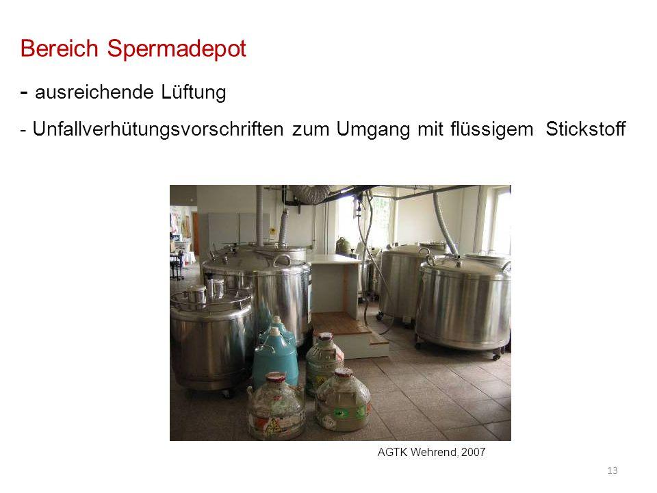 Bereich Spermadepot - ausreichende Lüftung - Unfallverhütungsvorschriften zum Umgang mit flüssigem Stickstoff 13 AGTK Wehrend, 2007