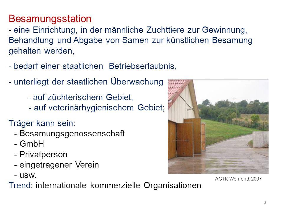 Besamungsstation - eine Einrichtung, in der männliche Zuchttiere zur Gewinnung, Behandlung und Abgabe von Samen zur künstlichen Besamung gehalten werden, - bedarf einer staatlichen Betriebserlaubnis, - unterliegt der staatlichen Überwachung - auf züchterischem Gebiet, - auf veterinärhygienischem Gebiet; Träger kann sein: - Besamungsgenossenschaft - GmbH - Privatperson - eingetragener Verein - usw.
