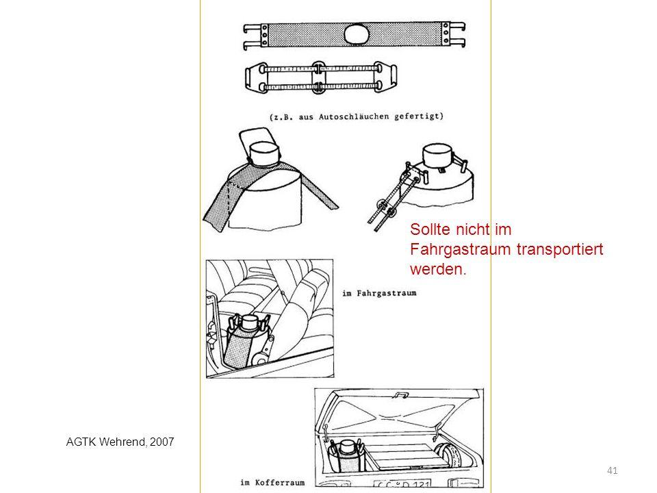 Sollte nicht im Fahrgastraum transportiert werden. 41 AGTK Wehrend, 2007