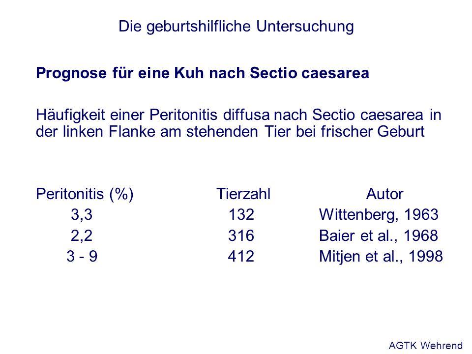 Die geburtshilfliche Untersuchung Prognose für eine Kuh nach Sectio caesarea Häufigkeit einer Peritonitis diffusa nach Sectio caesarea in der linken F