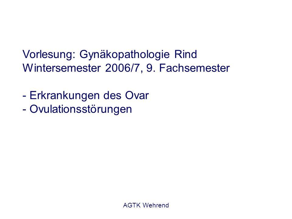 AGTK Wehrend Vorlesung: Gynäkopathologie Rind Wintersemester 2006/7, 9. Fachsemester - Erkrankungen des Ovar - Ovulationsstörungen