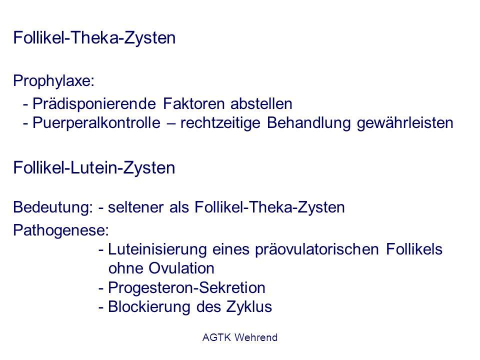 AGTK Wehrend Follikel-Lutein-Zysten Symptome:- Anöstrus (Interöstrus) ohne Gravidität Verlauf:- Persistenz - spontane Rückbildung Diagnose:- wiederholte rektale Untersuchung/US (8 – 14 Tage) - Milchprogesterontest Therapie:- Luteolyse durch Prostaglandine (PGF2 )