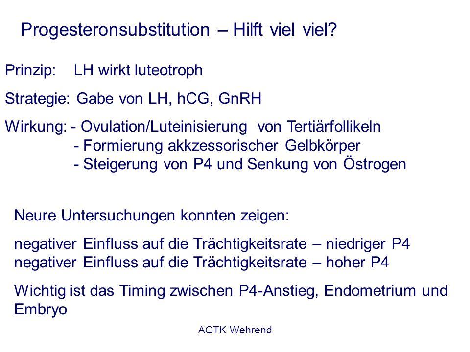 AGTK Wehrend Progesteronsubstitution – Hilft viel viel? Prinzip: LH wirkt luteotroph Strategie: Gabe von LH, hCG, GnRH Wirkung: - Ovulation/Luteinisie