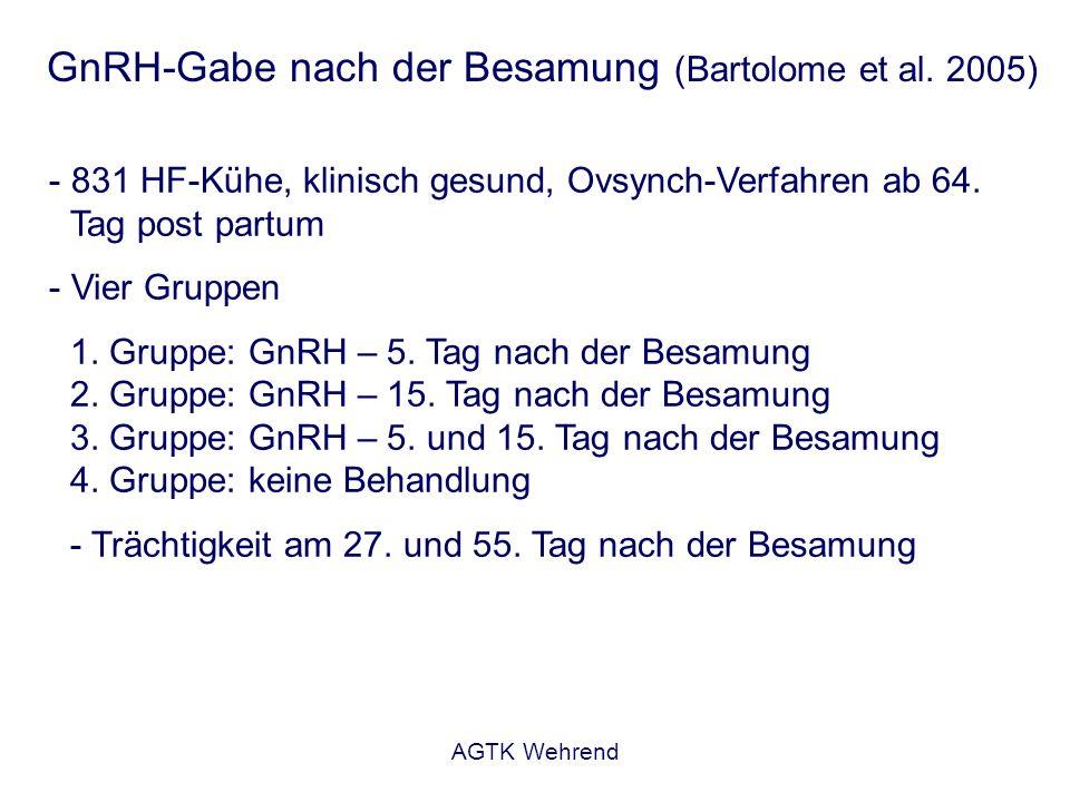 AGTK Wehrend GnRH-Gabe nach der Besamung (Bartolome et al. 2005) - 831 HF-Kühe, klinisch gesund, Ovsynch-Verfahren ab 64. Tag post partum - Vier Grupp