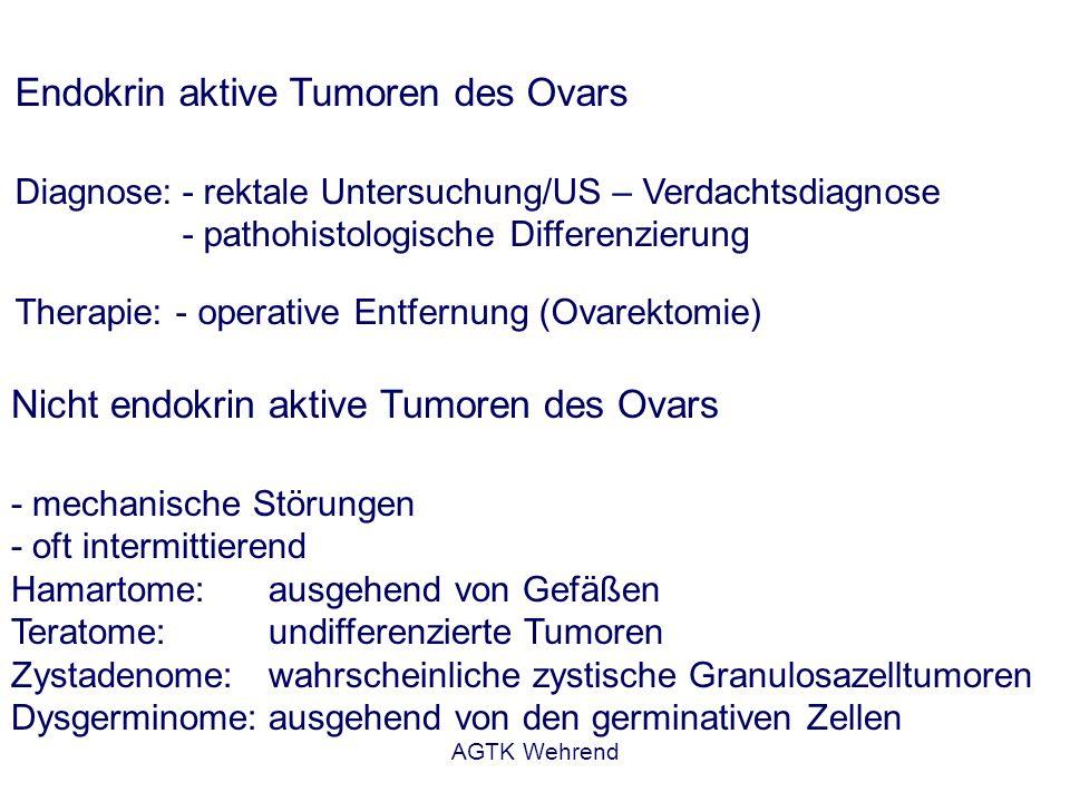 AGTK Wehrend Endokrin aktive Tumoren des Ovars Diagnose:- rektale Untersuchung/US – Verdachtsdiagnose - pathohistologische Differenzierung Therapie: -