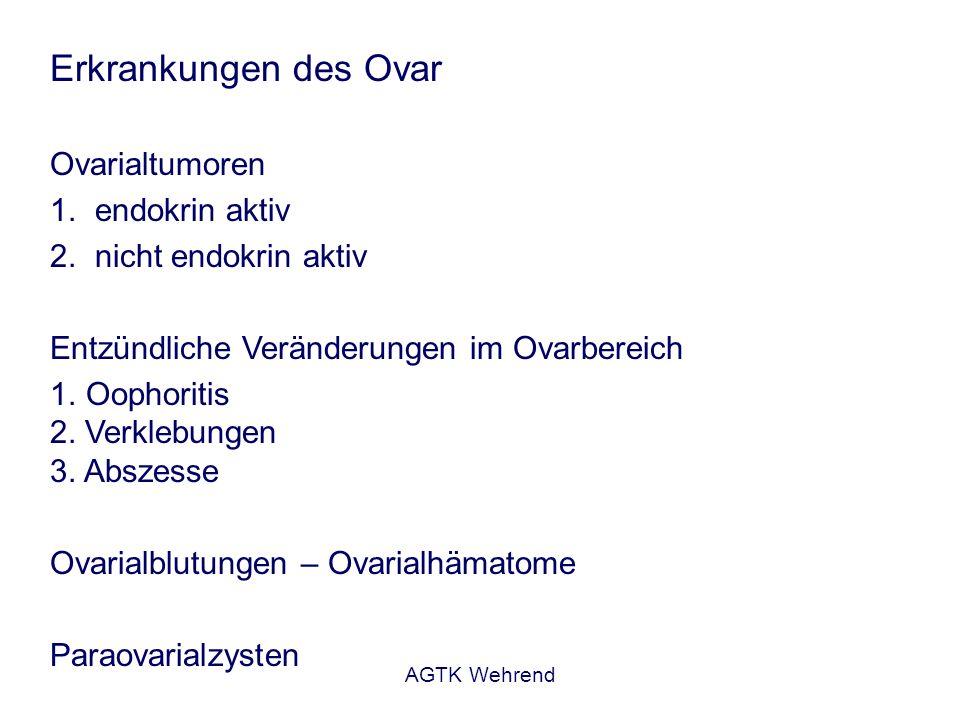 AGTK Wehrend Erkrankungen des Ovar Ovarialtumoren 1. endokrin aktiv 2. nicht endokrin aktiv Entzündliche Veränderungen im Ovarbereich 1. Oophoritis 2.