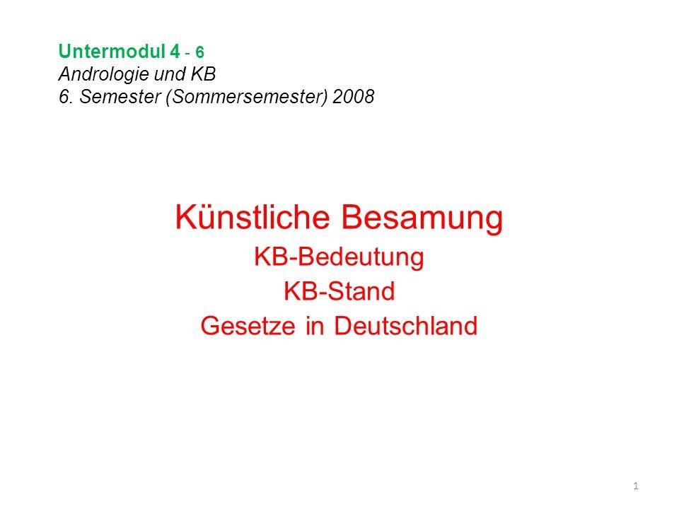 Untermodul 4 - 6 Andrologie und KB 6. Semester (Sommersemester) 2008 Künstliche Besamung KB-Bedeutung KB-Stand Gesetze in Deutschland 1
