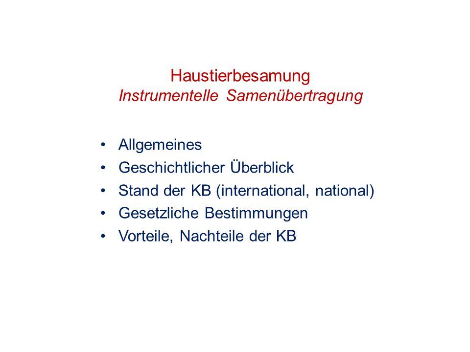Haustierbesamung Instrumentelle Samenübertragung Allgemeines Geschichtlicher Überblick Stand der KB (international, national) Gesetzliche Bestimmungen