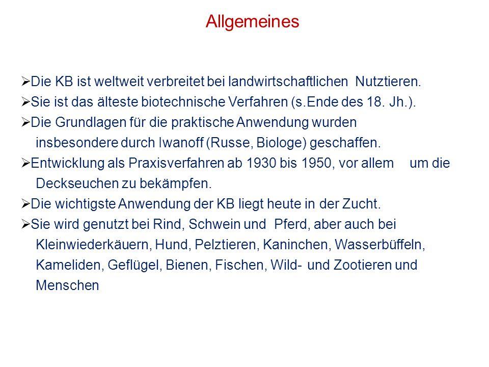 Allgemeines Die KB ist weltweit verbreitet bei landwirtschaftlichen Nutztieren. Sie ist das älteste biotechnische Verfahren (s.Ende des 18. Jh.). Die