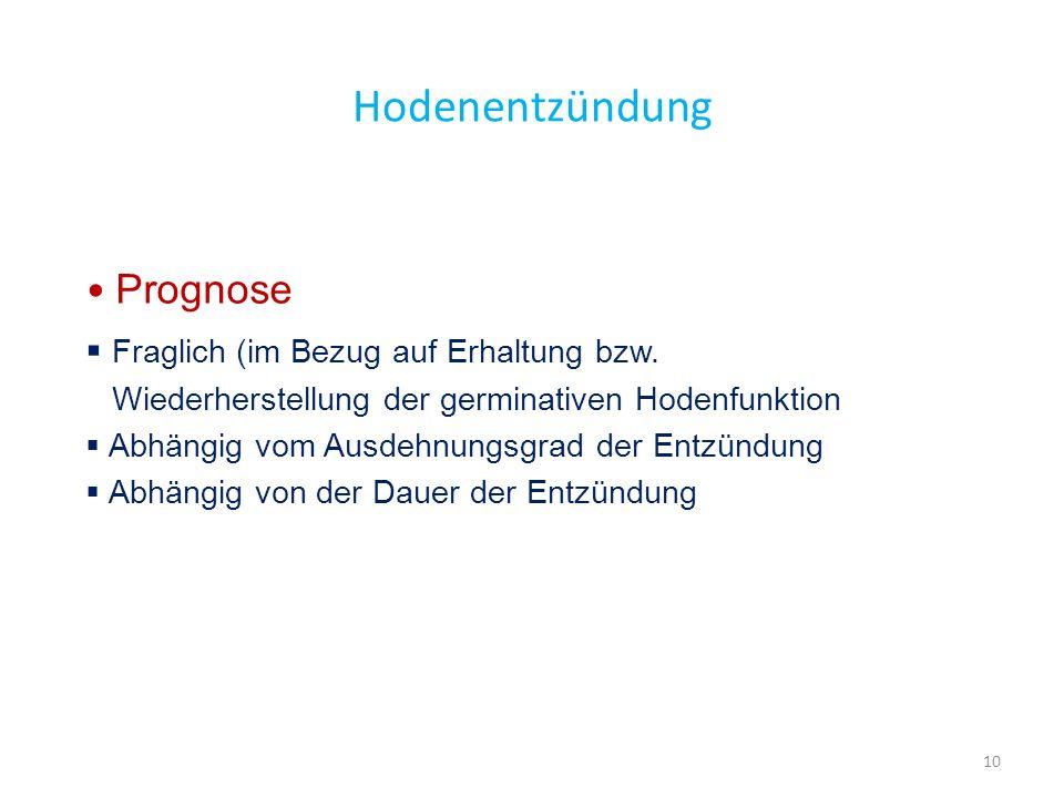Hodenentzündung Prognose Fraglich (im Bezug auf Erhaltung bzw. Wiederherstellung der germinativen Hodenfunktion Abhängig vom Ausdehnungsgrad der Entzü