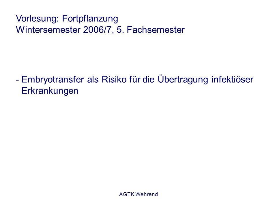 AGTK Wehrend Vorlesung: Fortpflanzung Wintersemester 2006/7, 5. Fachsemester - Embryotransfer als Risiko für die Übertragung infektiöser Erkrankungen