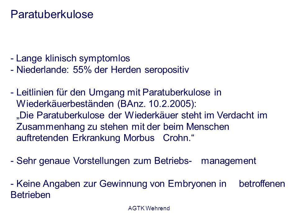 AGTK Wehrend Paratuberkulose - Lange klinisch symptomlos - Niederlande: 55% der Herden seropositiv - Leitlinien für den Umgang mit Paratuberkulose in