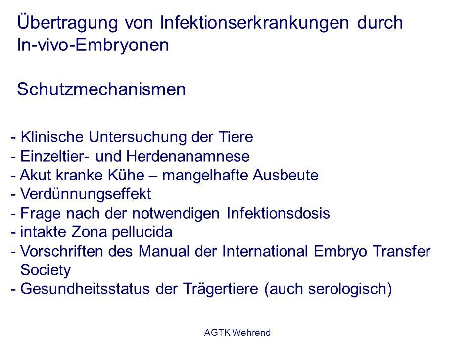AGTK Wehrend Übertragung von Infektionserkrankungen durch In-vivo-Embryonen Schutzmechanismen - Klinische Untersuchung der Tiere - Einzeltier- und Her