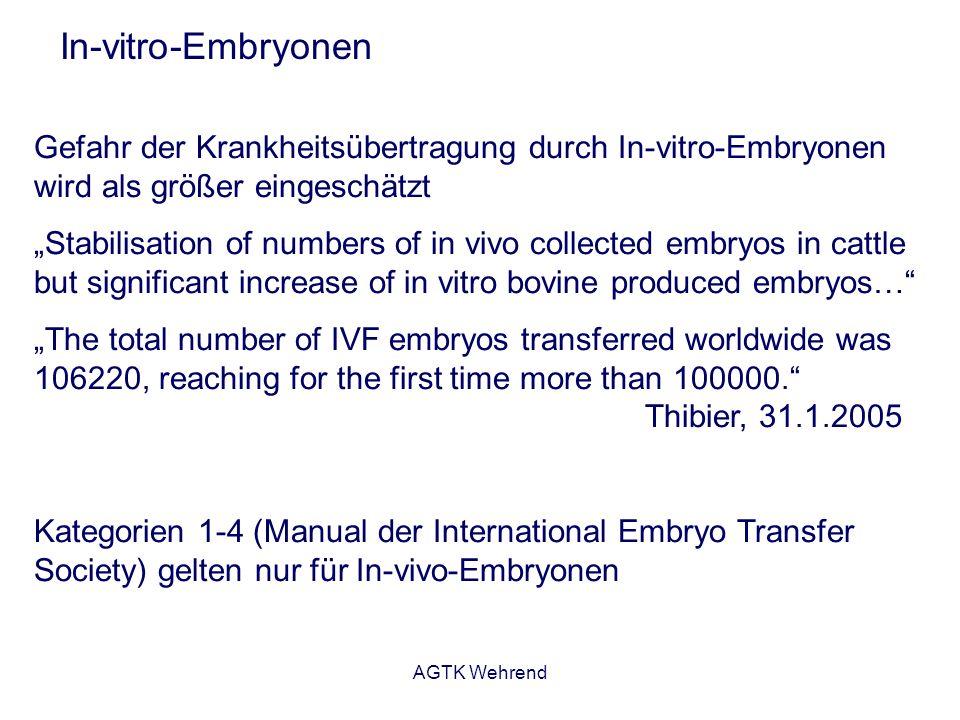 AGTK Wehrend In-vitro-Embryonen Gefahr der Krankheitsübertragung durch In-vitro-Embryonen wird als größer eingeschätzt Stabilisation of numbers of in