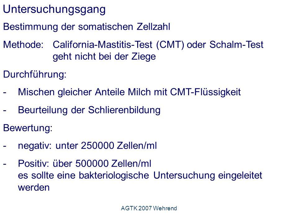 AGTK 2007 Wehrend Untersuchungsgang Bestimmung der somatischen Zellzahl Methode: California-Mastitis-Test (CMT) oder Schalm-Test geht nicht bei der Ziege Durchführung: - Mischen gleicher Anteile Milch mit CMT-Flüssigkeit -Beurteilung der Schlierenbildung Bewertung: -negativ: unter 250000 Zellen/ml -Positiv: über 500000 Zellen/ml es sollte eine bakteriologische Untersuchung eingeleitet werden