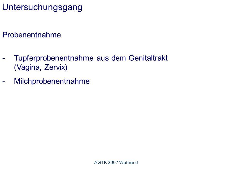 AGTK 2007 Wehrend Untersuchungsgang Probenentnahme -Tupferprobenentnahme aus dem Genitaltrakt (Vagina, Zervix) -Milchprobenentnahme