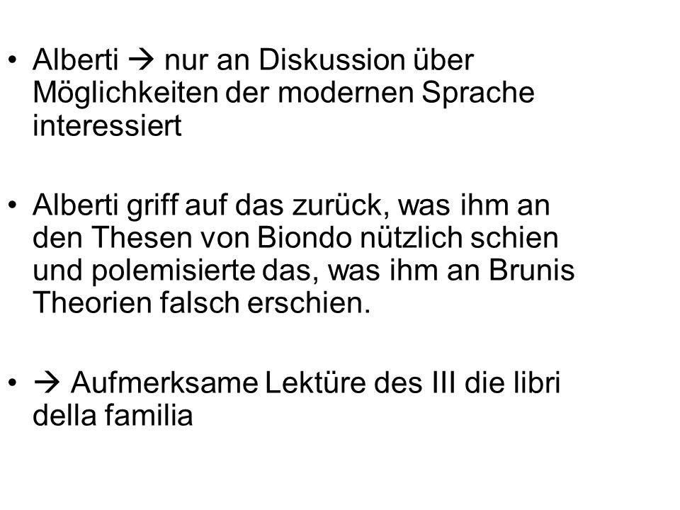 Alberti nur an Diskussion über Möglichkeiten der modernen Sprache interessiert Alberti griff auf das zurück, was ihm an den Thesen von Biondo nützlich