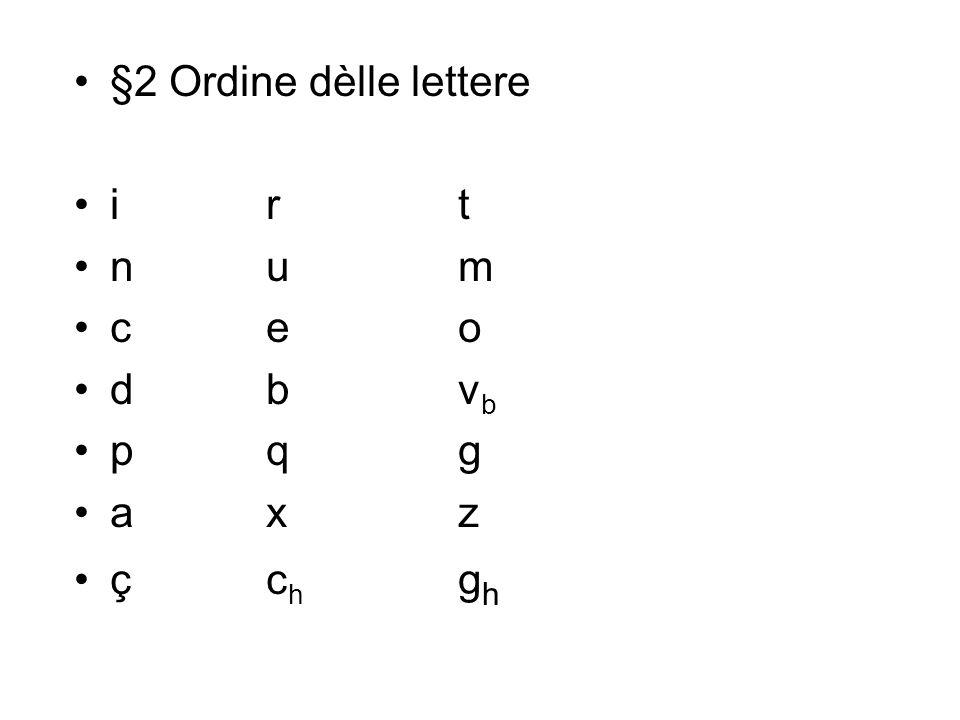 §2 Ordine dèlle lettere irt num ceo dbv b pqg axz çc h g h