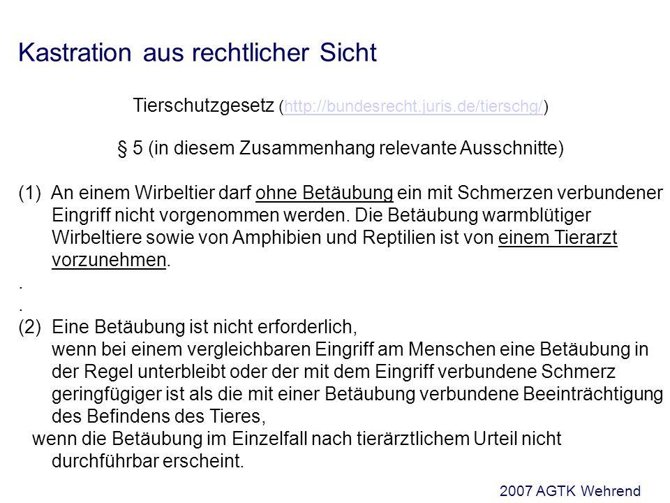 Kastration aus rechtlicher Sicht Tierschutzgesetz (http://bundesrecht.juris.de/tierschg/)http://bundesrecht.juris.de/tierschg/ § 5 (in diesem Zusammenhang relevante Ausschnitte) (1) An einem Wirbeltier darf ohne Betäubung ein mit Schmerzen verbundener Eingriff nicht vorgenommen werden.