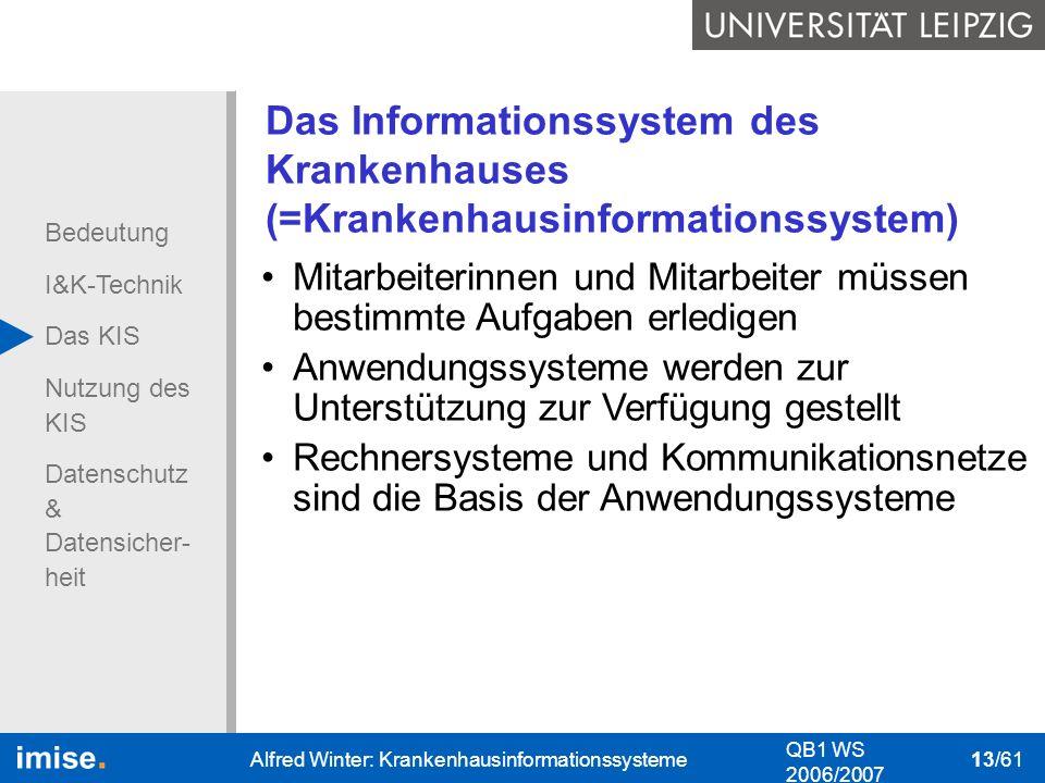 Bedeutung I&K-Technik Das KIS Nutzung des KIS Datenschutz & Datensicher- heit QB1 WS 2006/2007 Alfred Winter: Krankenhausinformationssysteme 13/61 Das