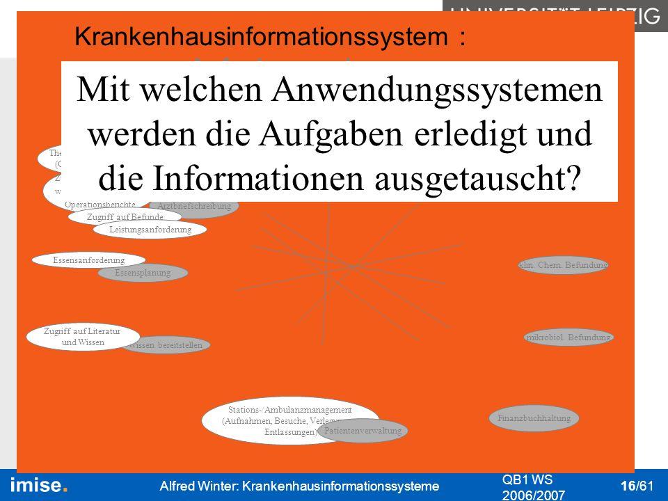 Bedeutung I&K-Technik Das KIS Nutzung des KIS Datenschutz & Datensicher- heit QB1 WS 2006/2007 Alfred Winter: Krankenhausinformationssysteme 16/61 kli