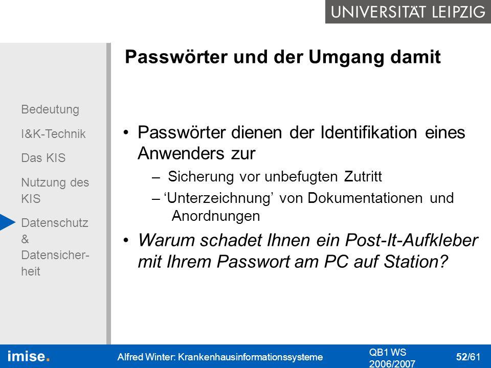 Bedeutung I&K-Technik Das KIS Nutzung des KIS Datenschutz & Datensicher- heit QB1 WS 2006/2007 Alfred Winter: Krankenhausinformationssysteme 52/61 Pas