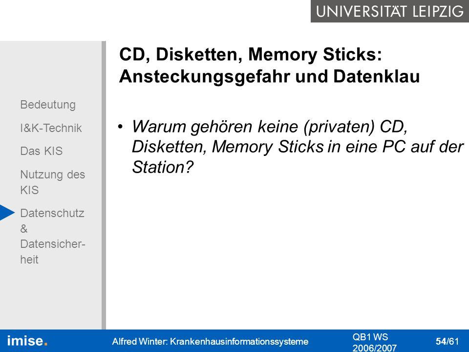Bedeutung I&K-Technik Das KIS Nutzung des KIS Datenschutz & Datensicher- heit QB1 WS 2006/2007 Alfred Winter: Krankenhausinformationssysteme 54/61 CD,