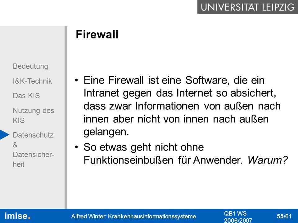Bedeutung I&K-Technik Das KIS Nutzung des KIS Datenschutz & Datensicher- heit QB1 WS 2006/2007 Alfred Winter: Krankenhausinformationssysteme 55/61 Fir
